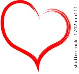 red heart   doodle style...   Shutterstock .eps vector #1742555111