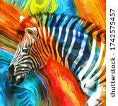 Modern Colorful Zebra Oil...