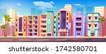 street in miami with buildings  ... | Shutterstock .eps vector #1742580701