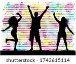 dancing people silhouettes.... | Shutterstock . vector #1742615114