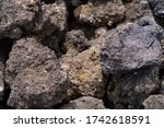 Close-up view of volcano stones from ätna in sicila