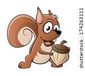 funny cartoon squirrel | Shutterstock .eps vector #174263111