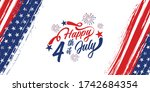 happy 4th of july typography... | Shutterstock .eps vector #1742684354