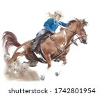 Cowgirl Riding Horse American...