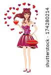 beautiful girl in lovely... | Shutterstock .eps vector #174280214