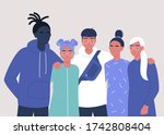 a diverse group of teenagers... | Shutterstock .eps vector #1742808404