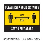 please keep your distance sign. ...   Shutterstock .eps vector #1742837297