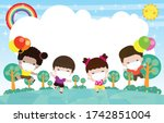happy kids holding balloon... | Shutterstock .eps vector #1742851004