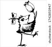 little cartoon bird in a hurry... | Shutterstock .eps vector #1742853947