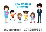 back to school for new normal... | Shutterstock .eps vector #1742859914