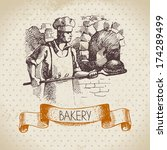 bakery sketch background.... | Shutterstock .eps vector #174289499