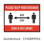 please keep your distance sign. ...   Shutterstock .eps vector #1742899931