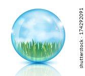 Ball With Green Grass And Blue...