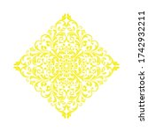 damask graphic ornament. floral ... | Shutterstock . vector #1742932211