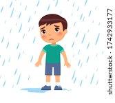 unhappy boy under rain flat...   Shutterstock .eps vector #1742933177