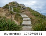 Wooden Steps Lead Up To The...