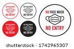 no face mask no entry sign.... | Shutterstock .eps vector #1742965307