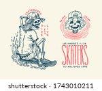 skateboard badges and logo.... | Shutterstock .eps vector #1743010211