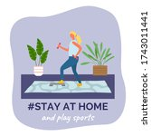 stay at home and play sports....   Shutterstock .eps vector #1743011441