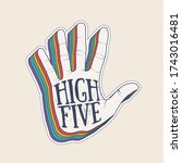 high five hand palm silhouette... | Shutterstock .eps vector #1743016481