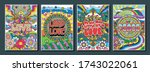love and peace poster set ...   Shutterstock .eps vector #1743022061