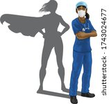 a nurse or doctor super hero... | Shutterstock .eps vector #1743024677