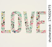 stylish floral card. love word... | Shutterstock .eps vector #174302975