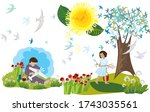 a young girl and boy being... | Shutterstock . vector #1743035561