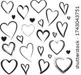 vector hand drawn love hearts... | Shutterstock .eps vector #1743043751