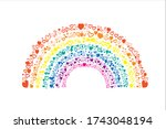 Rainbow Made Of Hearts On A...