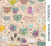 childish seamless pattern with... | Shutterstock .eps vector #174305141