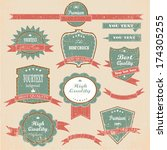 vintage labels and ribbon retro ... | Shutterstock .eps vector #174305255