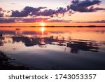 Sunset Lake Water Horizon...