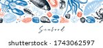 hand drawn seafood background.... | Shutterstock .eps vector #1743062597
