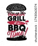 fire up the grill   it s bbq... | Shutterstock .eps vector #1743063074