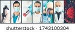 coronavirus covid 19 photo set... | Shutterstock . vector #1743100304