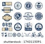 set of vector bike shop  club ... | Shutterstock .eps vector #1743115091