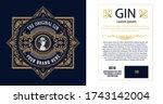 vintage gin label. vector... | Shutterstock .eps vector #1743142004
