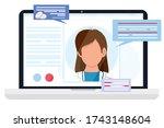 virtual doctor app. vector flat ... | Shutterstock .eps vector #1743148604