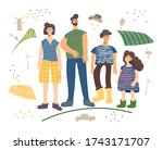farm family flat hand drawn... | Shutterstock .eps vector #1743171707