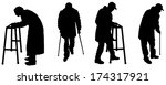vector silhouette old people in ...   Shutterstock .eps vector #174317921