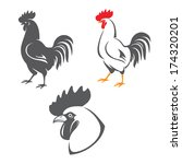 Three Rooster Icons  Head And...