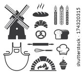 Set of black bakery icons and symbols in vector