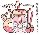 cute cartoon dessert with happy ...   Shutterstock .eps vector #1743203537