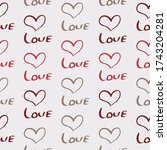 seamless pattern with word love ... | Shutterstock .eps vector #1743204281