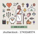 set of icons of jesus... | Shutterstock .eps vector #1743268574