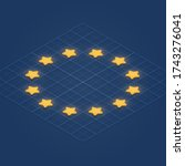 european union flag with 3d... | Shutterstock .eps vector #1743276041