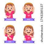 happy cute kid girl study body... | Shutterstock .eps vector #1743285137