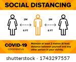 social distancing 2m meter 6...   Shutterstock .eps vector #1743297557
