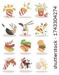 fast food illustrations in...   Shutterstock .eps vector #1743304274